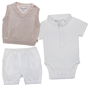Boys Three Piece Christening Bloomers, Body And Tanktop - clothing