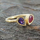 Ruby, Amethyst Gold Teardrop Stacking Ring