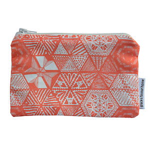 Hexie Doodle Fabric Purse   Coral - make-up & wash bags
