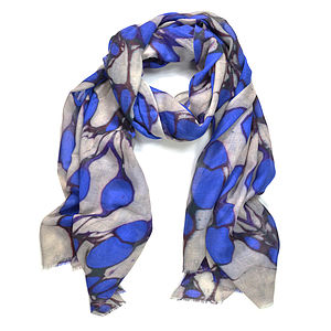Cabochon Marble Print Wool Silk Scarf - women's accessories