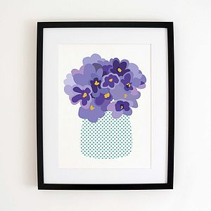 Purple Flowers Art Print - summer sale