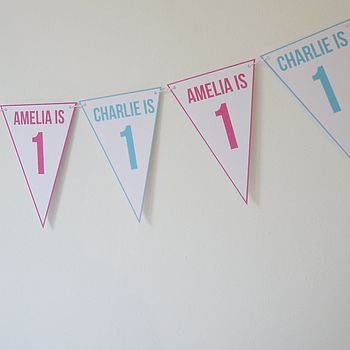 Birthday Bunting For Twins Or Joint Party