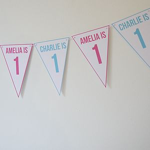 Birthday Bunting For Twins Or Joint Party - shop by price
