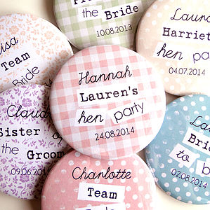 Personalised Hen Party Badges - personalised jewellery
