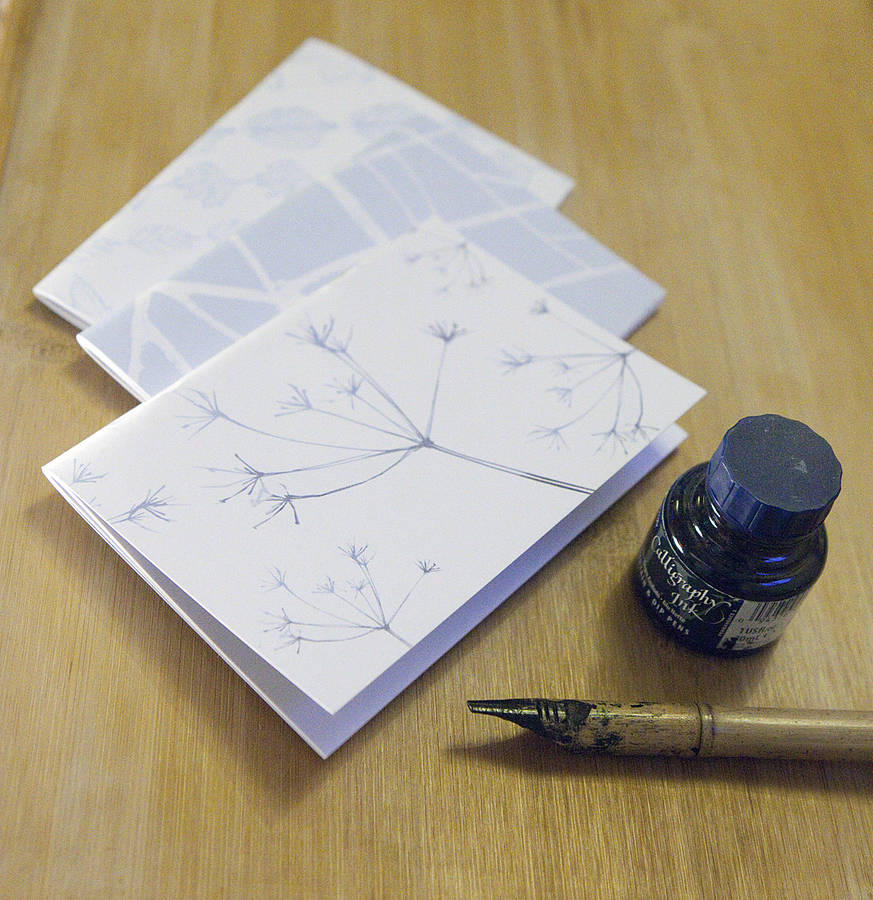 Set Of Three Blue Leaf Notebooks