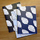 Set Of Three Beech Leaf Notebooks