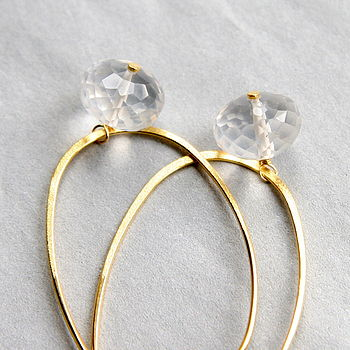 Oval Gold Hoop And Milky Quartz Earrings