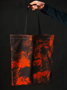Ionic Age Print Red Canvas Bag