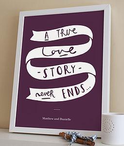 'True Love' Personalised Wedding Print