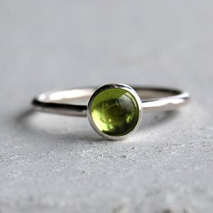 Sterling Silver And Peridot Stacking Ring