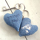 personalised grandmas keyring, denim