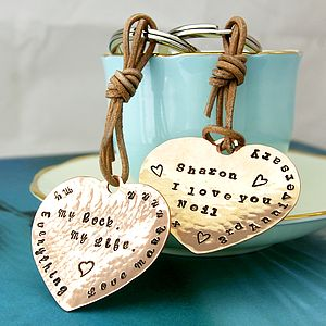 Personalised Copper Heart Keyring - anniversary gifts