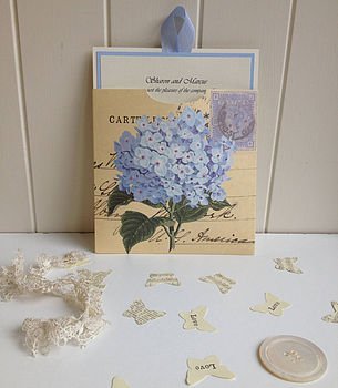Blue Hydrangea Vintage Wedding Invitation