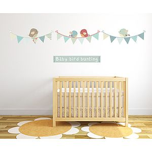 Bird Bunting Fabric Wall Stickers - baby's room