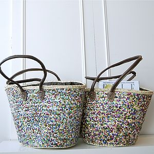 Gueliz Multicoloured Sequinned Beach Basket