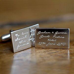 Personalised Wedding Silver Cufflinks