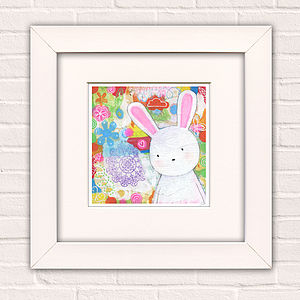 Bunny Art Print For Girls 'Dreaming Of Magic' - posters & prints