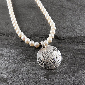 Cow Parsley Silver Pearl Necklace - necklaces & pendants