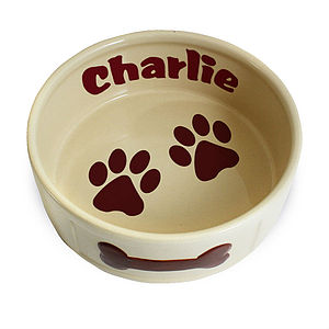 Personalised Paw Print Ceramic Dog Bowl - dogs
