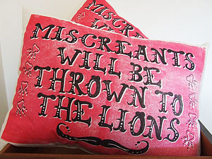 Hand Printed Miscreants Cushion