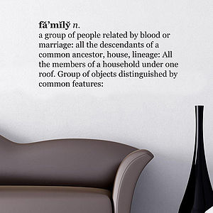 'Family' Dictionary Wall Quote - wall stickers by room
