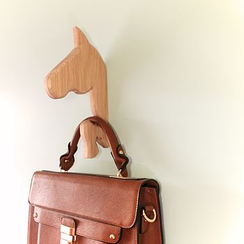 Horse Oak Coat And Bag Hook