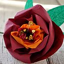 Single Red Paper Rose With Beaded Centre