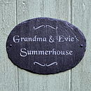 Personalised Engraved Slate Oval Garden Sign