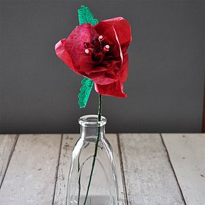 Single Long Stem Red Paper Rose - artificial flowers & plants