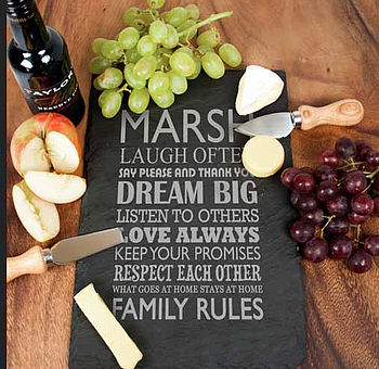 Personalised Family Rules Slate Board