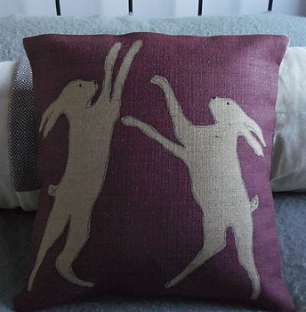 Hand Printed Mulberry Hare Cushion