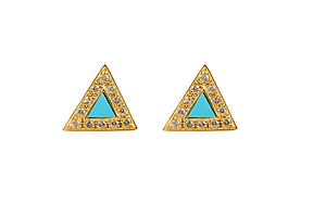 Isium Turquoise Triangular Stud Earrings