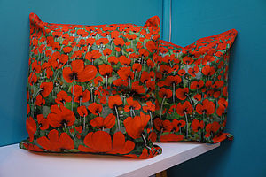 Blowing Poppies Red Cushion Cover