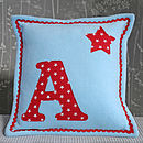 Initial Fleece Cushion With Stars
