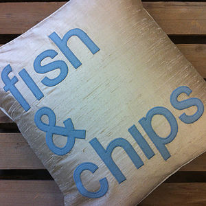 'Fish And Chips' Silk Appliqué Cushion