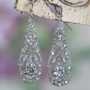 Ophelia Crystal 1920s Style Filigree Earrings - wedding fashion