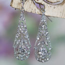 Ophelia Crystal 1920s Style Filigree Earrings