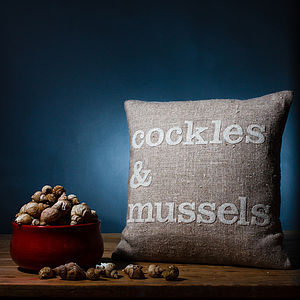 'Cockles And Mussels' Linen Cushion - living room