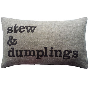 'Stew And Dumplings' Linen Cushion - cushions