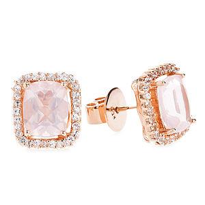 Mahina Rose Quartz And Sapphire Earrings - earrings