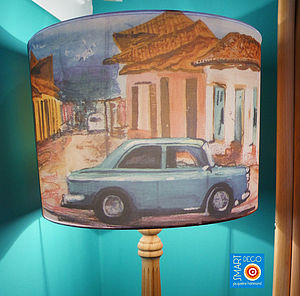 Cuban Car Scenic Print Lampshade - lamp bases & shades