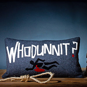'Whodunnit?' Wool Appliqué Cushion - living room