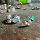 Bonbon stacking ring shown with rose quartz earrings and chrysoprase earrings