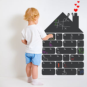 Chalkboard Alphabet House Wall Sticker - art & pictures