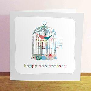 Lovebird Cage Anniverary Card