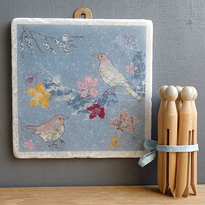 Blackbirds And Blossom Large Marble Wall Art - hanging decorations