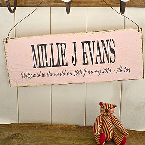 Personalised Christening Moment In Time Sign