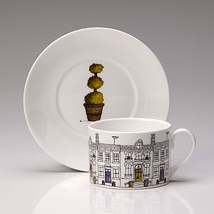 Street Scene Cup And Saucer - tableware