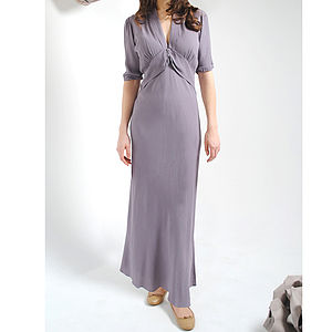 Purple Smoke Sable Crepe Maxi Dress - dresses