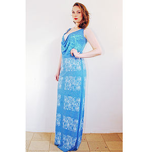 Blue Floral Maxi Dress - dresses